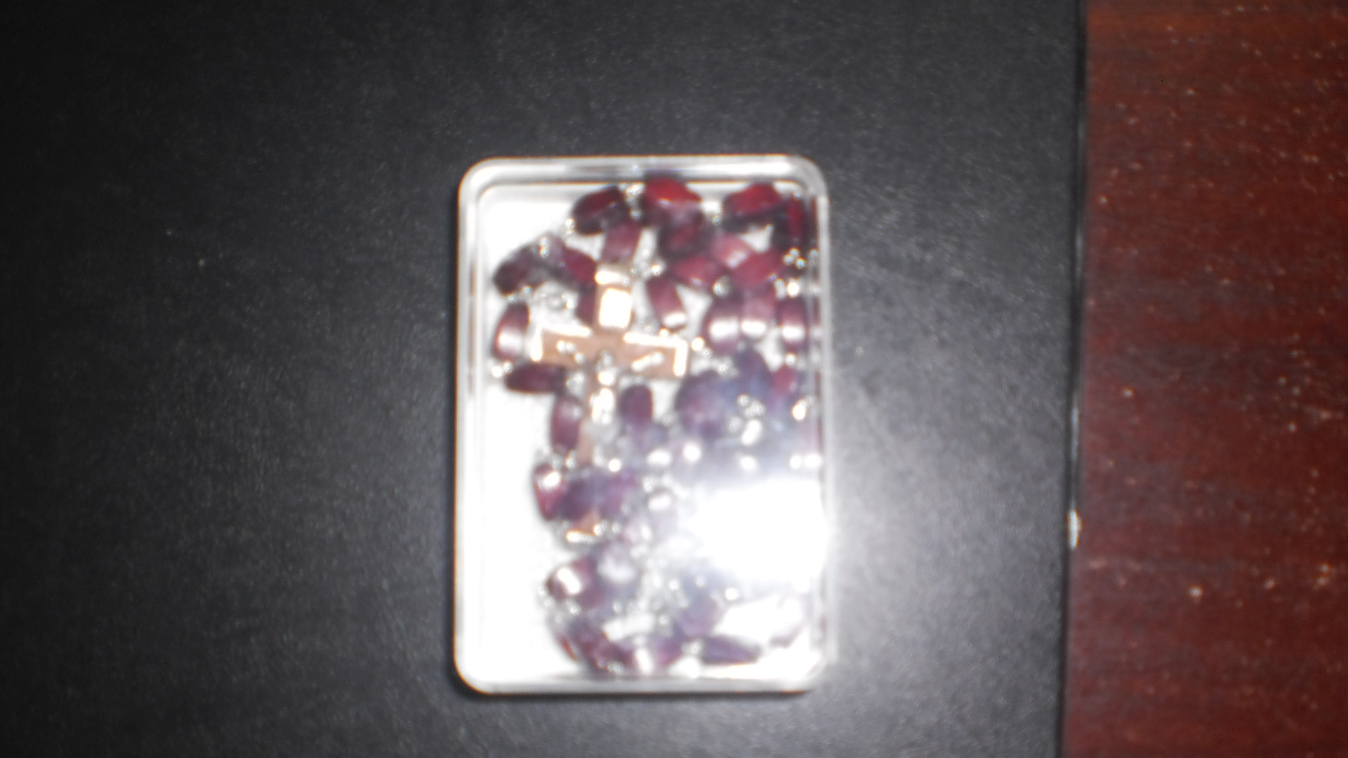 Rosary Beads brown wooden square