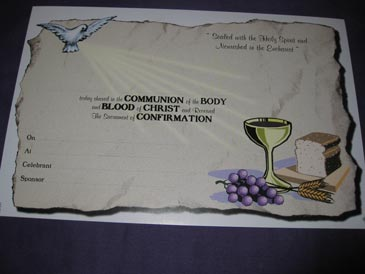 Certificate Communion Confirmation