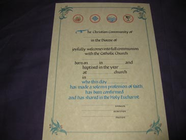 Certificate -Adult  RCIA