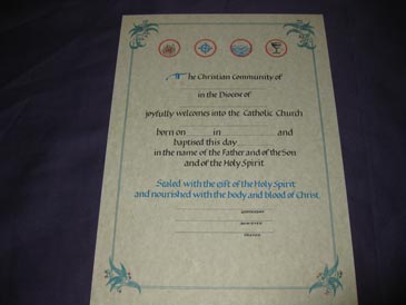 Certificate- Adult RCIA w/ baptism