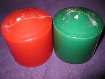 Candles 3x3 assorted colours